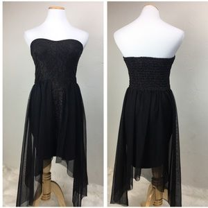 LF YOU black gold strapless sheer overlay dress